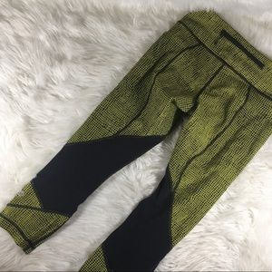 Lululemon Wunder Under Crop Yellow Black Legging 6